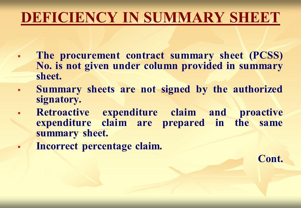 DEFICIENCY IN SUMMARY SHEET