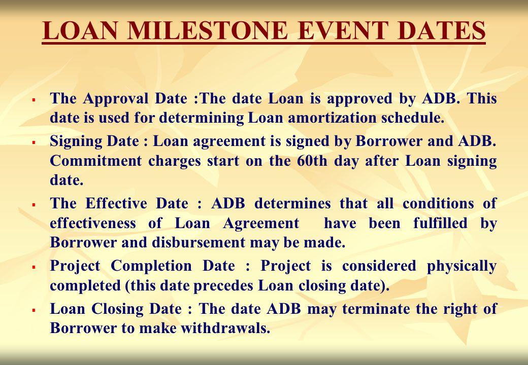 LOAN MILESTONE EVENT DATES