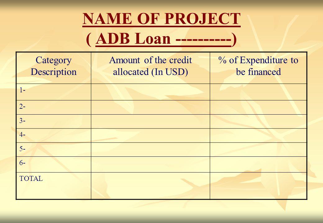 NAME OF PROJECT ( ADB Loan ----------)
