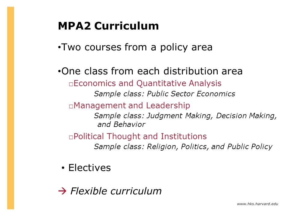 MPA2 Curriculum Two courses from a policy area