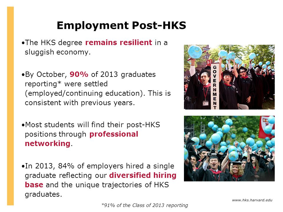 Employment Post-HKS The HKS degree remains resilient in a sluggish economy.