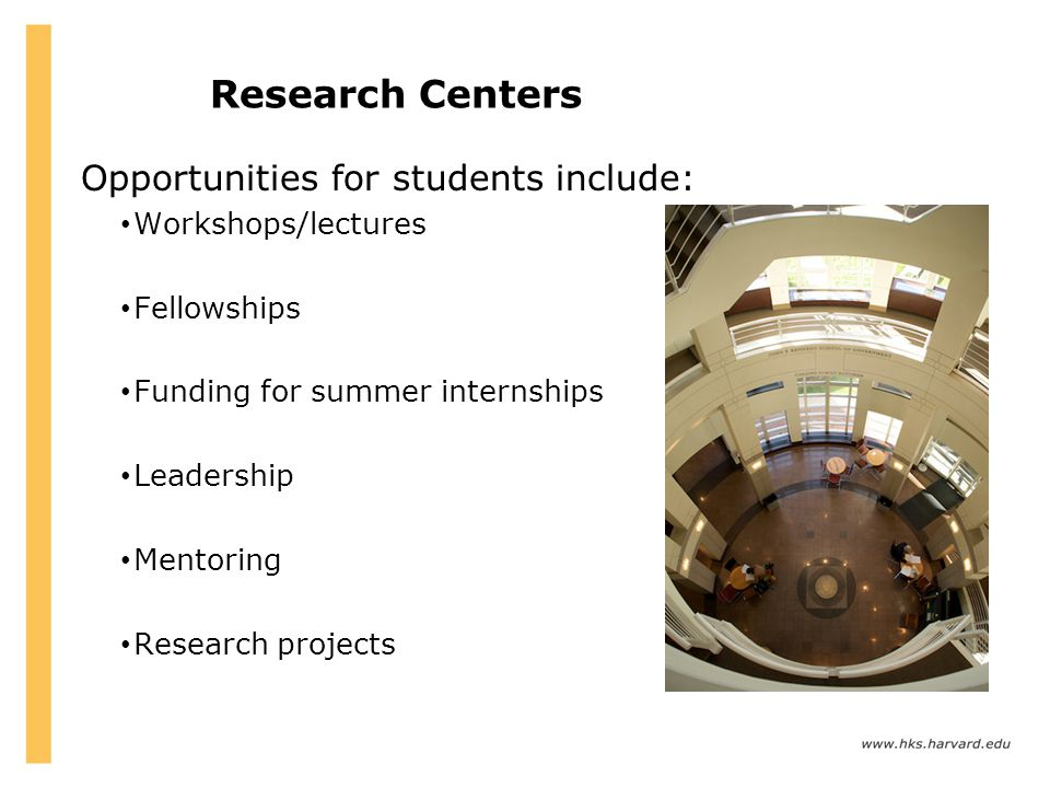 Research Centers Opportunities for students include: