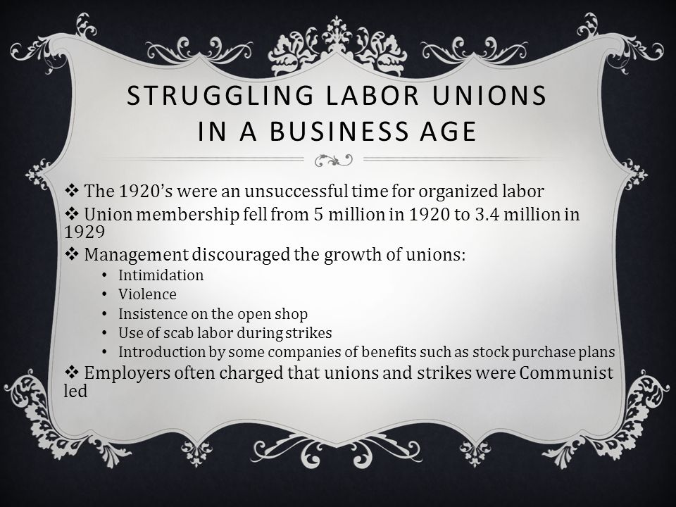 Struggling Labor Unions in a Business Age
