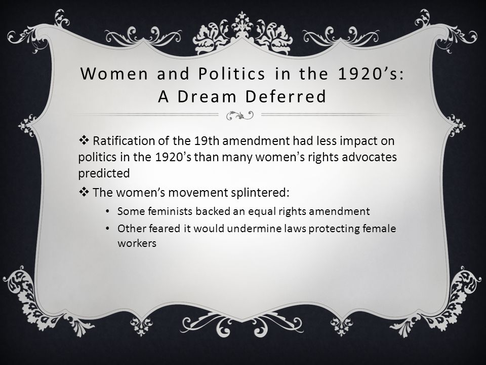 Women and Politics in the 1920's: A Dream Deferred