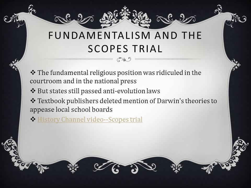 Fundamentalism and the Scopes Trial