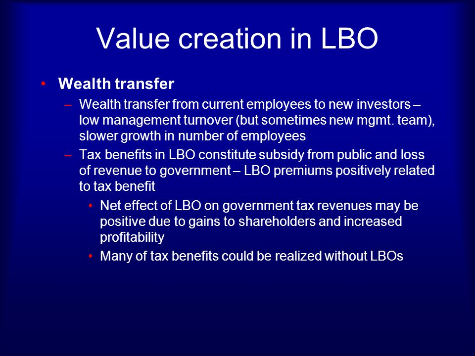 Value creation in LBO Wealth transfer