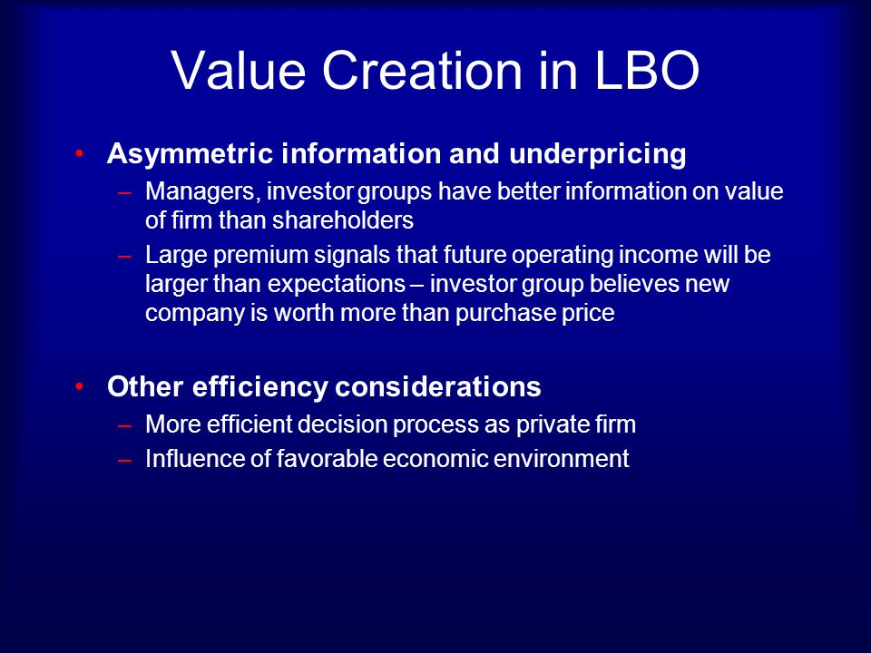 Value Creation in LBO Asymmetric information and underpricing