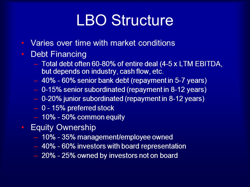 LBO Structure Varies over time with market conditions Debt Financing