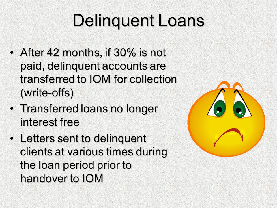 Delinquent Loans After 42 months, if 30% is not paid, delinquent accounts are transferred to IOM for collection (write-offs)