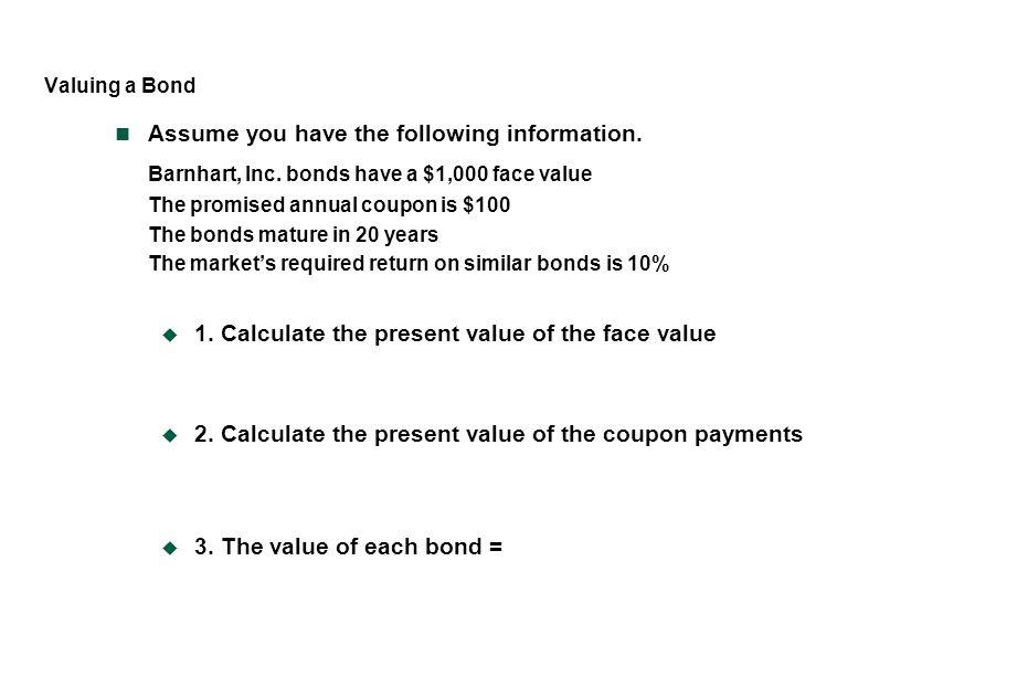 Barnhart, Inc. bonds have a $1,000 face value
