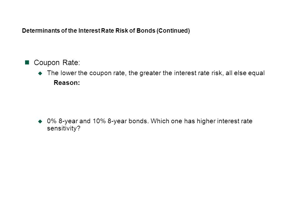 Determinants of the Interest Rate Risk of Bonds (Continued)