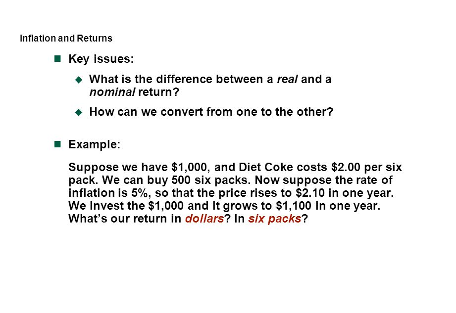 What is the difference between a real and a nominal return