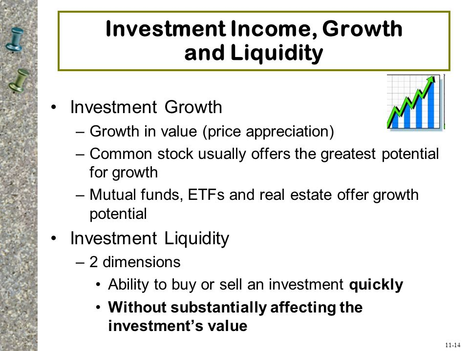Investment Income, Growth and Liquidity
