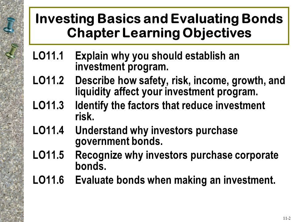 Investing Basics and Evaluating Bonds Chapter Learning Objectives