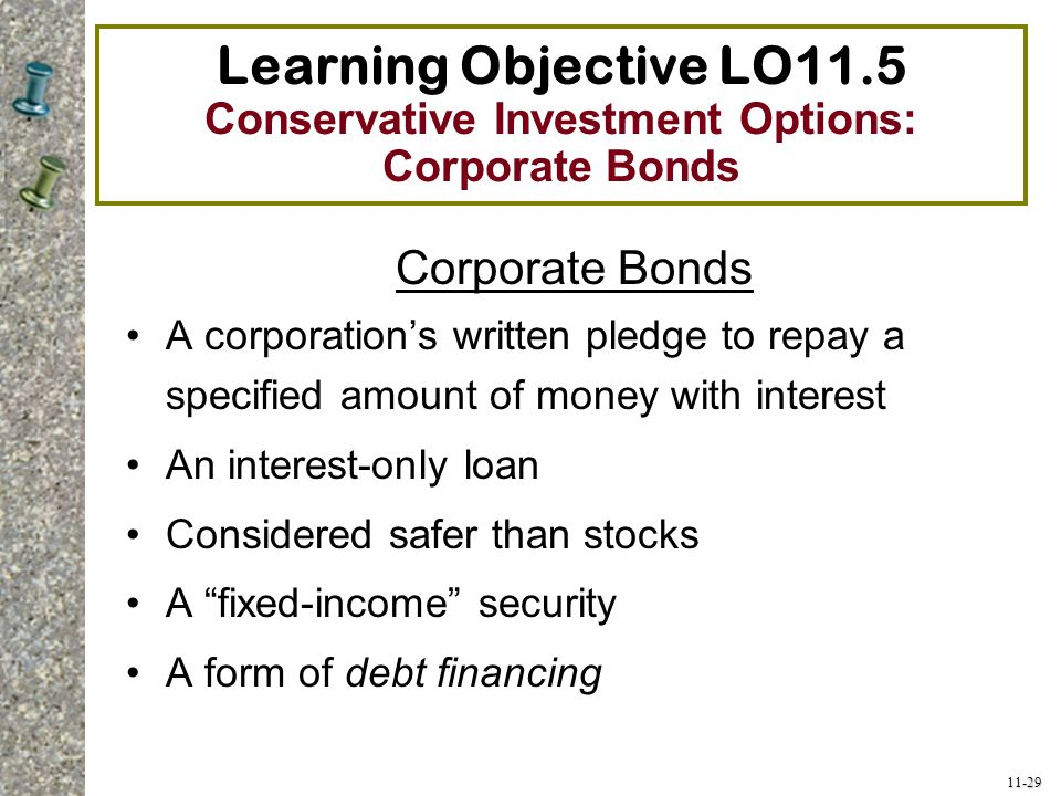 Learning Objective LO11.5 Conservative Investment Options: Corporate Bonds