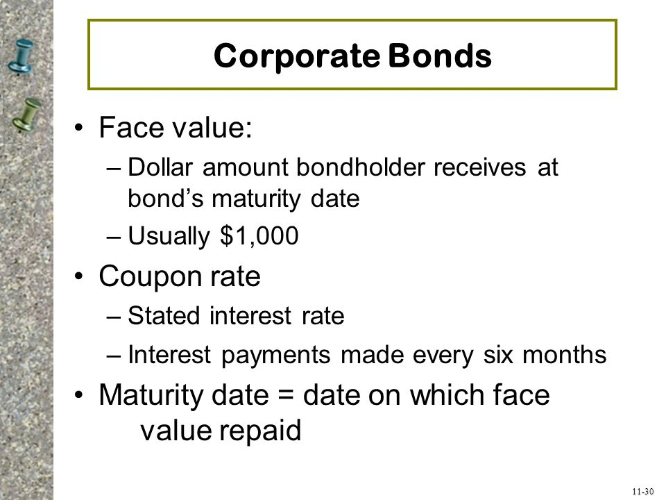 Corporate Bonds Face value: Coupon rate
