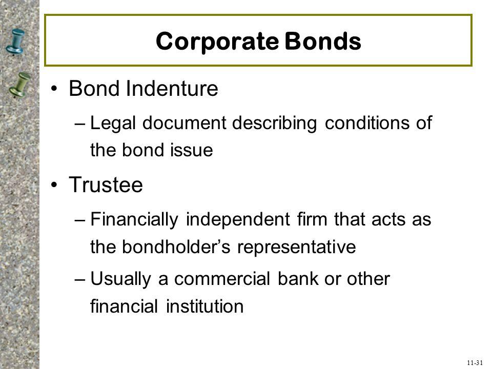 Corporate Bonds Bond Indenture Trustee