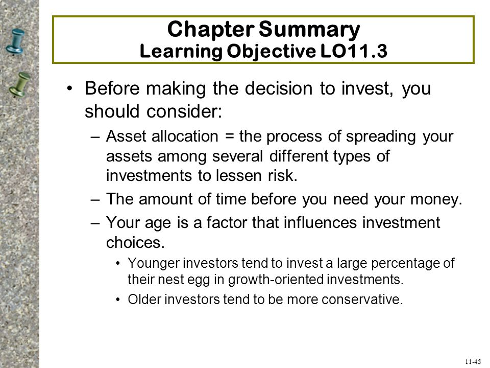 Chapter Summary Learning Objective LO11.3