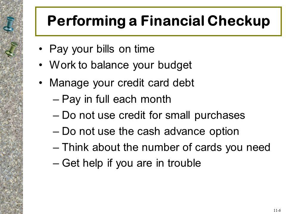 Performing a Financial Checkup
