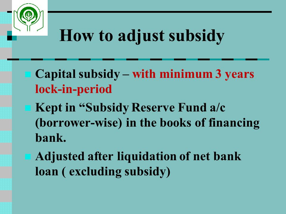 How to adjust subsidy Capital subsidy – with minimum 3 years lock-in-period.