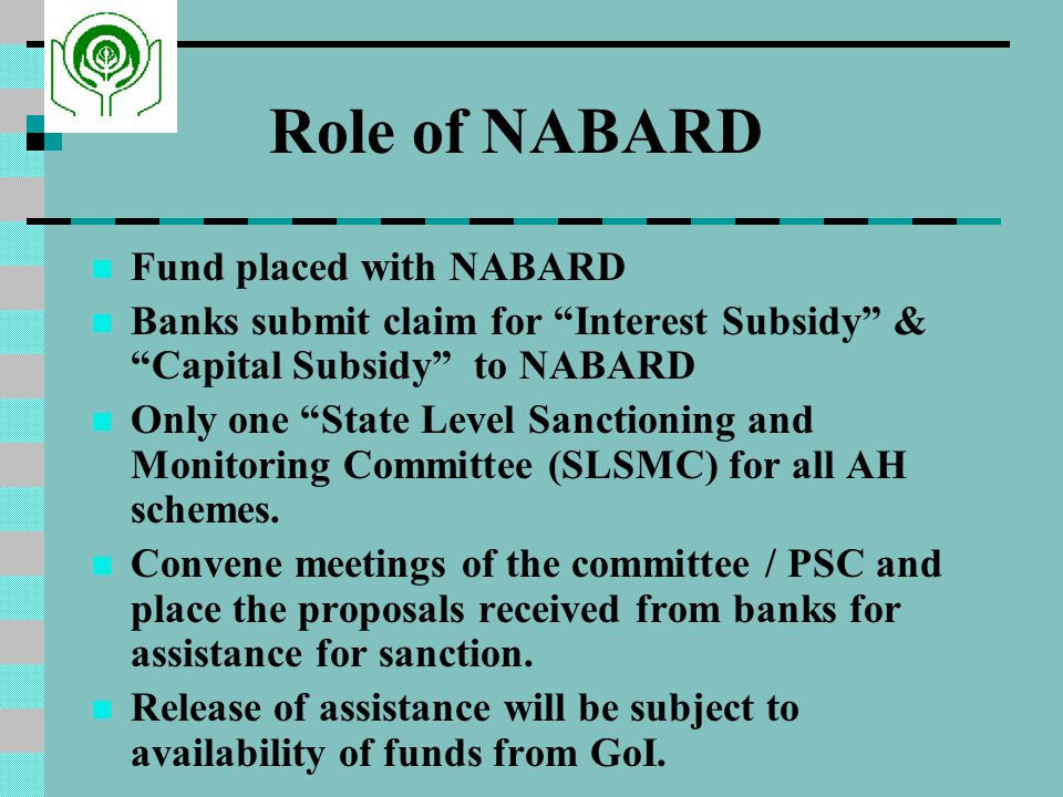 Role of NABARD Fund placed with NABARD