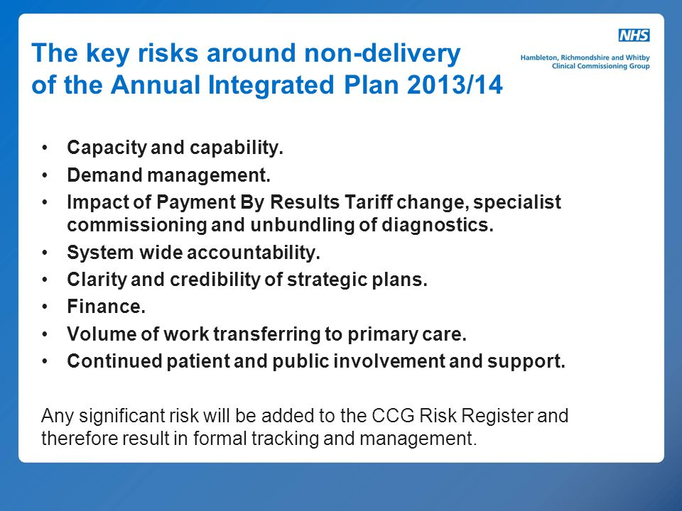 The key risks around non-delivery of the Annual Integrated Plan 2013/14