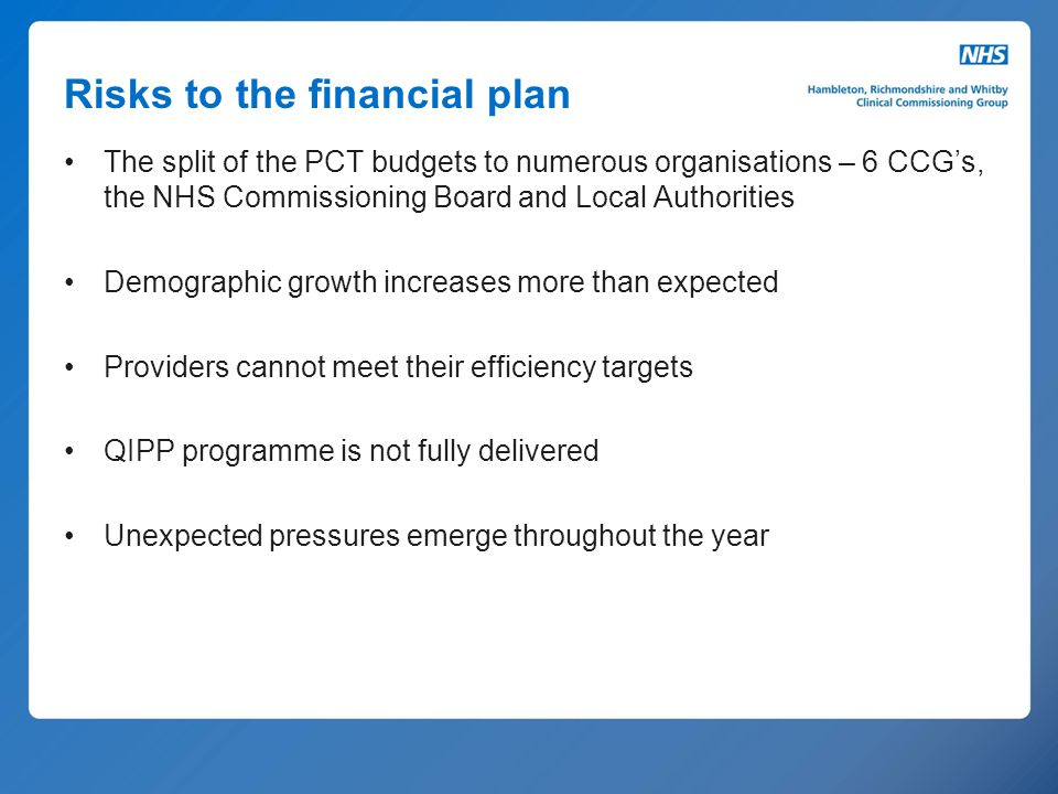 Risks to the financial plan