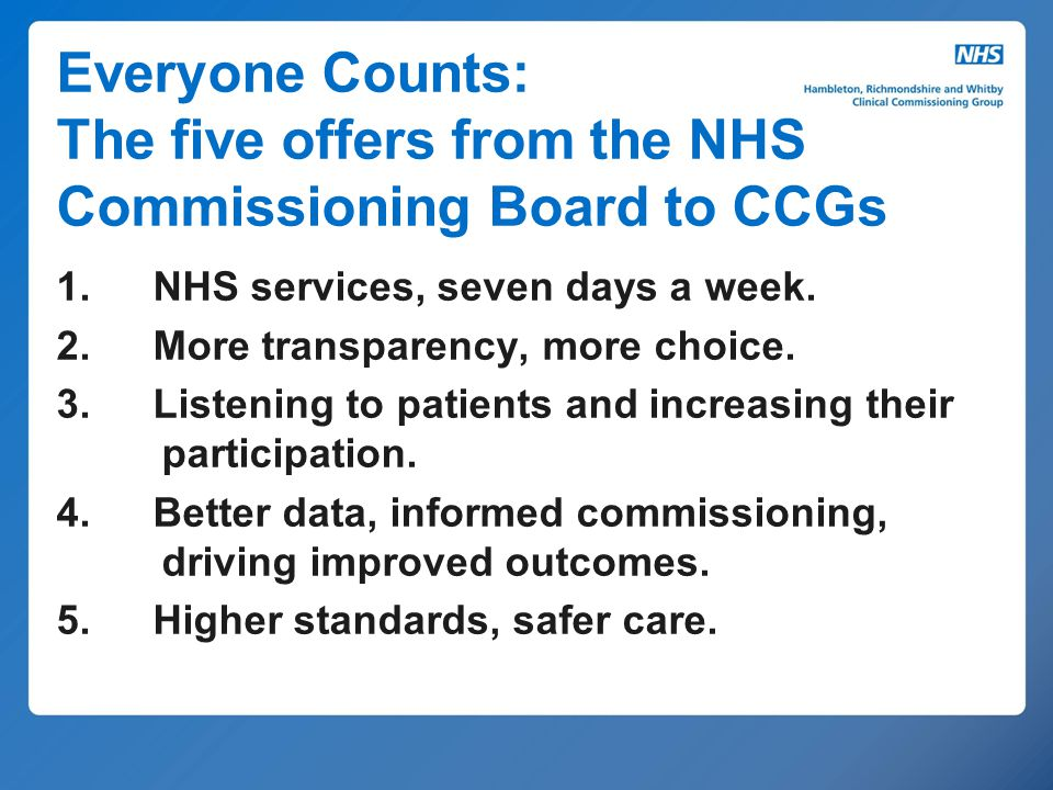 Everyone Counts: The five offers from the NHS Commissioning Board to CCGs