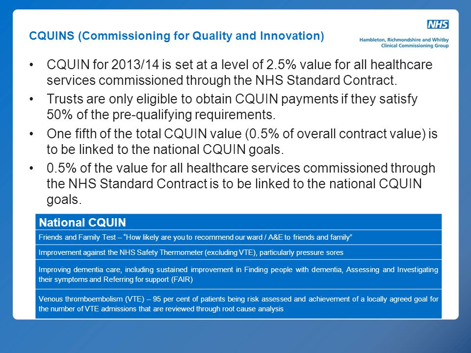 CQUINS (Commissioning for Quality and Innovation)