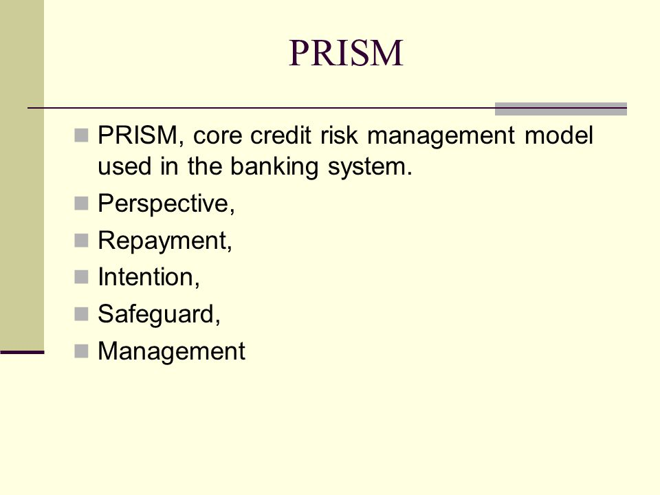 PRISM PRISM, core credit risk management model used in the banking system. Perspective, Repayment,