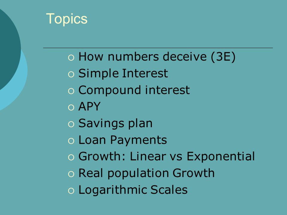 Topics How numbers deceive (3E) Simple Interest Compound interest APY