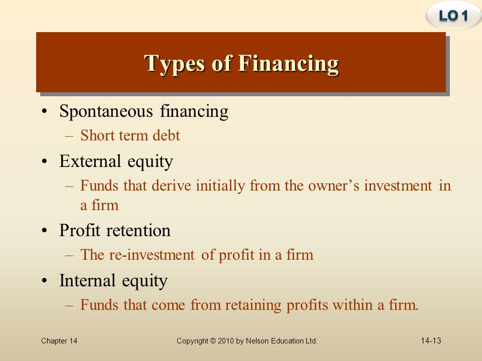 Types of Financing Spontaneous financing External equity