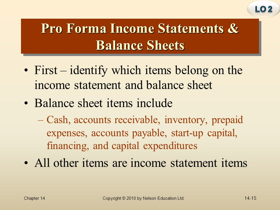 Pro Forma Income Statements & Balance Sheets