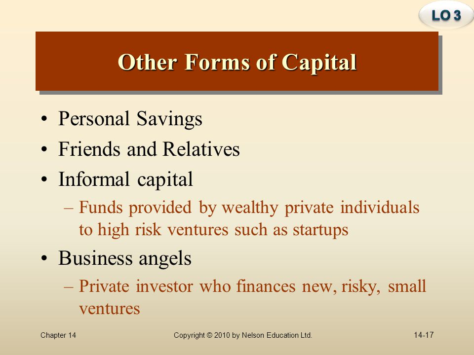 Other Forms of Capital Personal Savings Friends and Relatives
