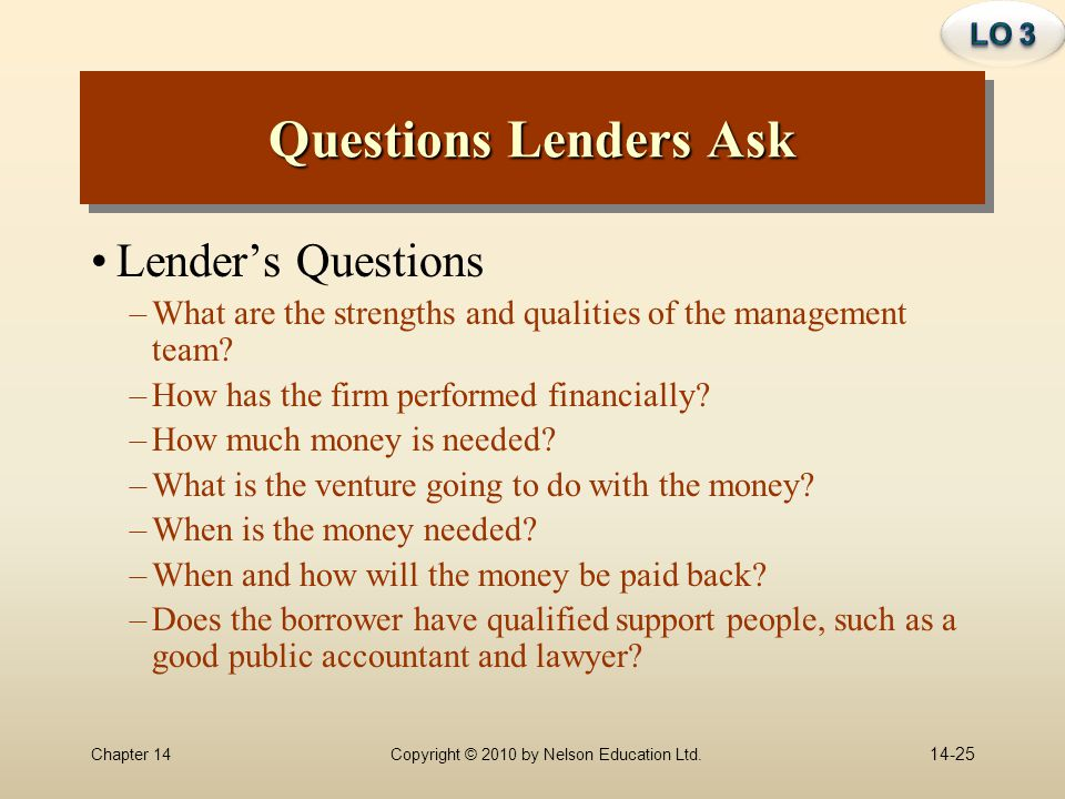 Questions Lenders Ask Lender's Questions