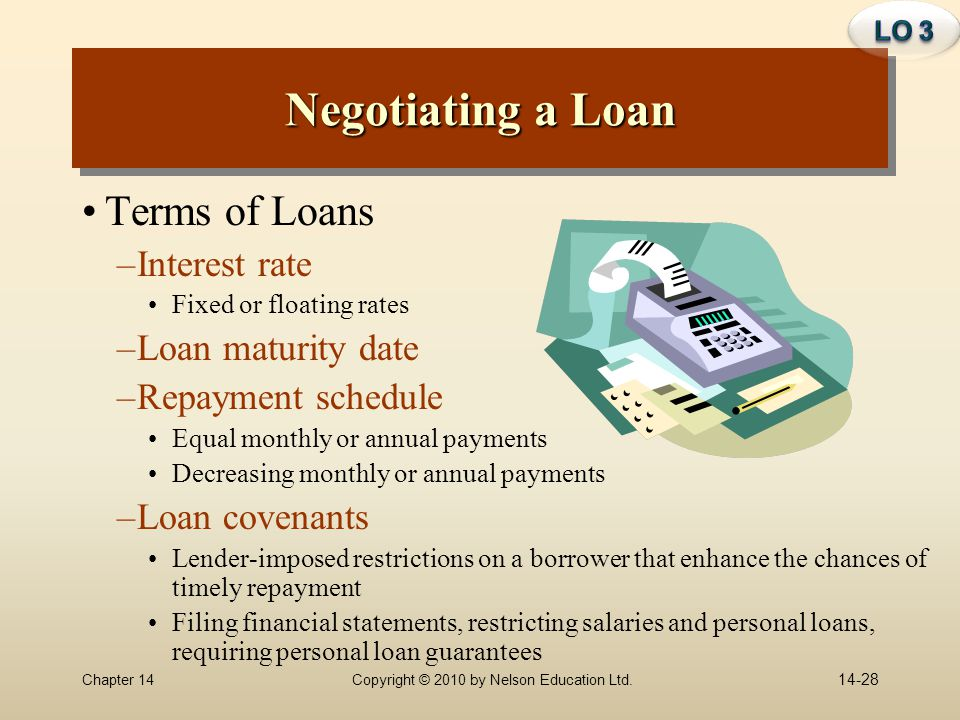 Negotiating a Loan Terms of Loans Interest rate Loan maturity date