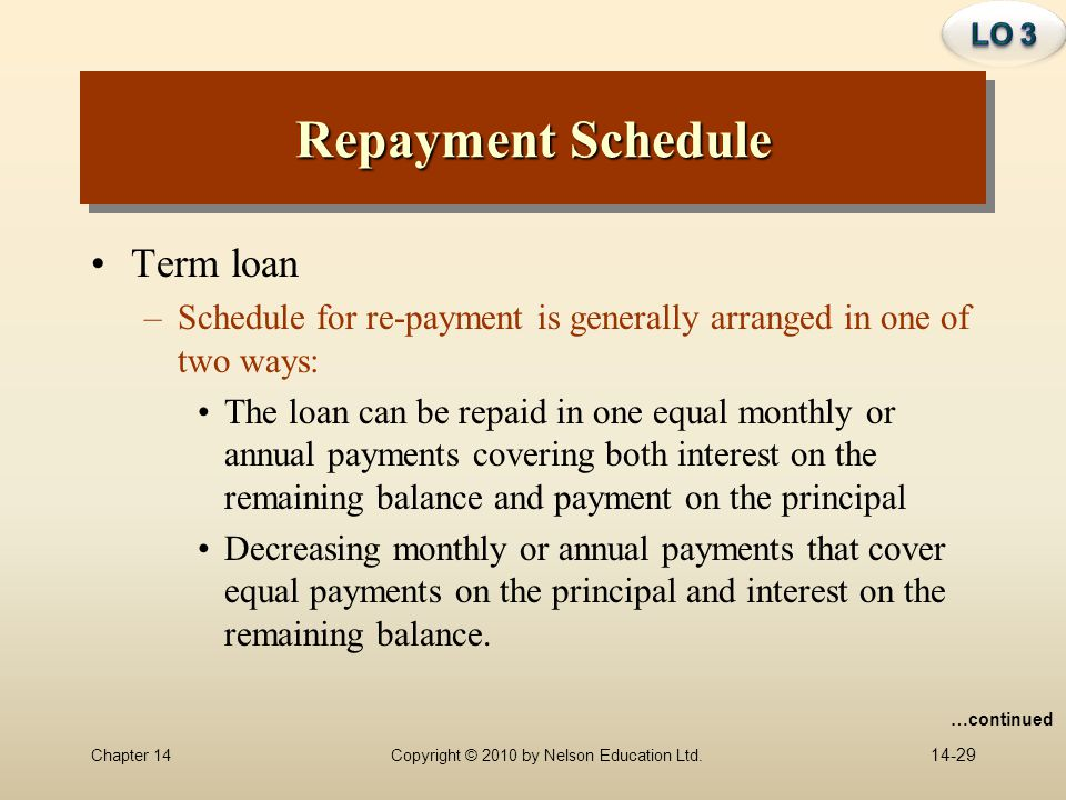 Repayment Schedule Term loan