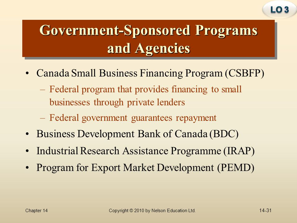 Government-Sponsored Programs and Agencies