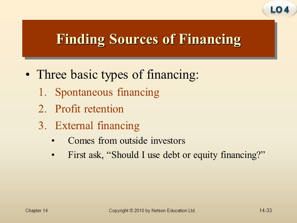 Finding Sources of Financing