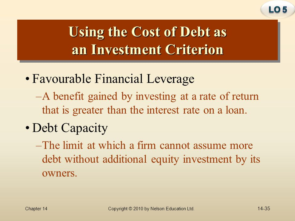 Using the Cost of Debt as an Investment Criterion