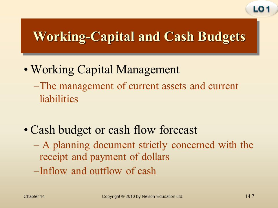 Working-Capital and Cash Budgets