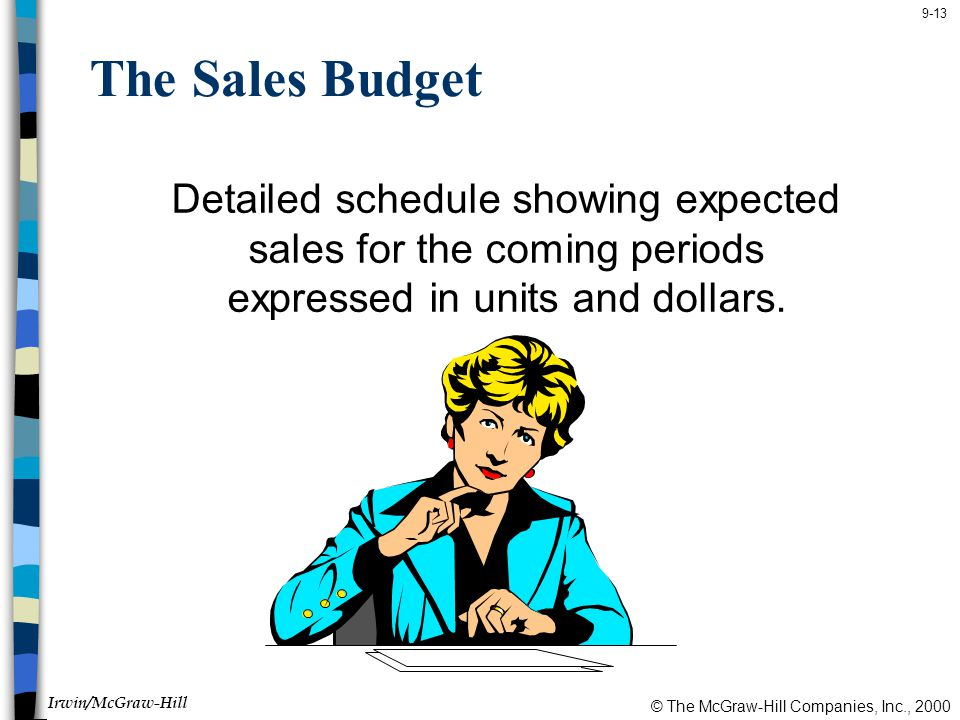 The Sales Budget Detailed schedule showing expected sales for the coming periods expressed in units and dollars.