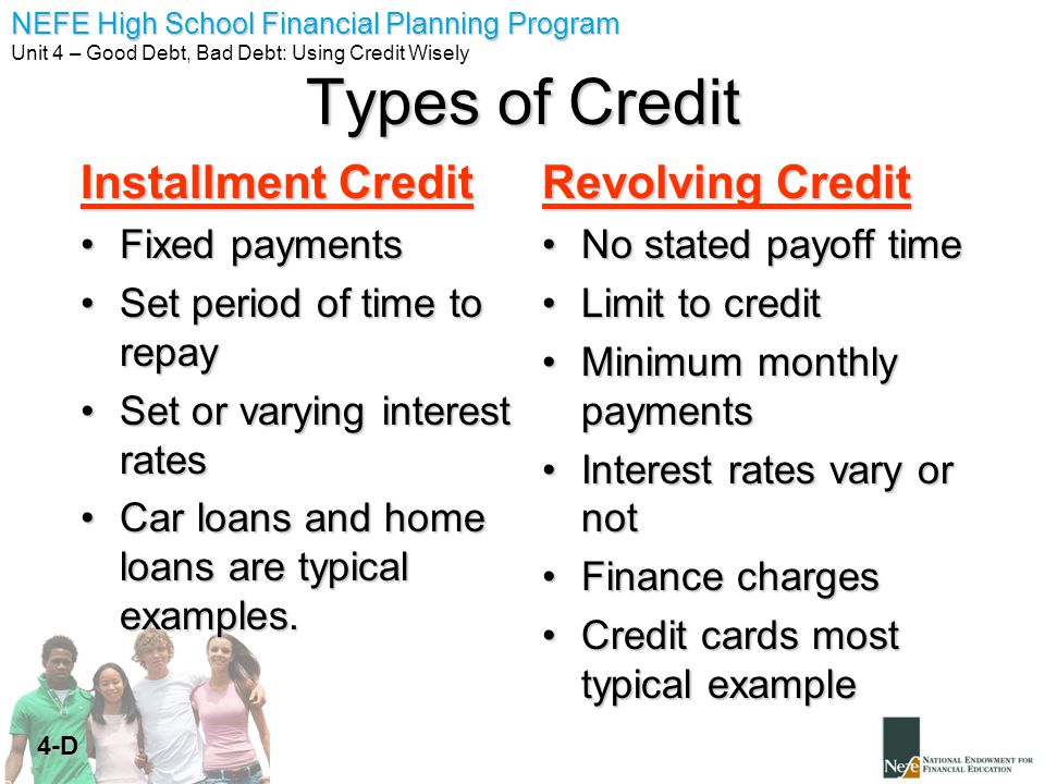 Types of Credit Installment Credit Revolving Credit Fixed payments