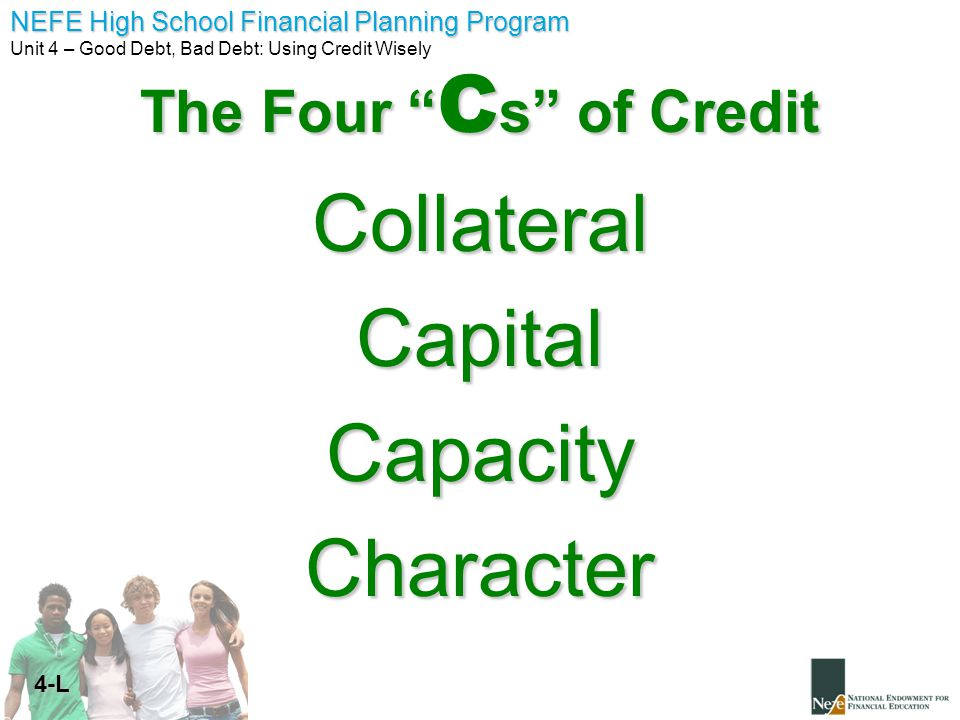 The Four Cs of Credit Collateral Capital Capacity Character 4-L