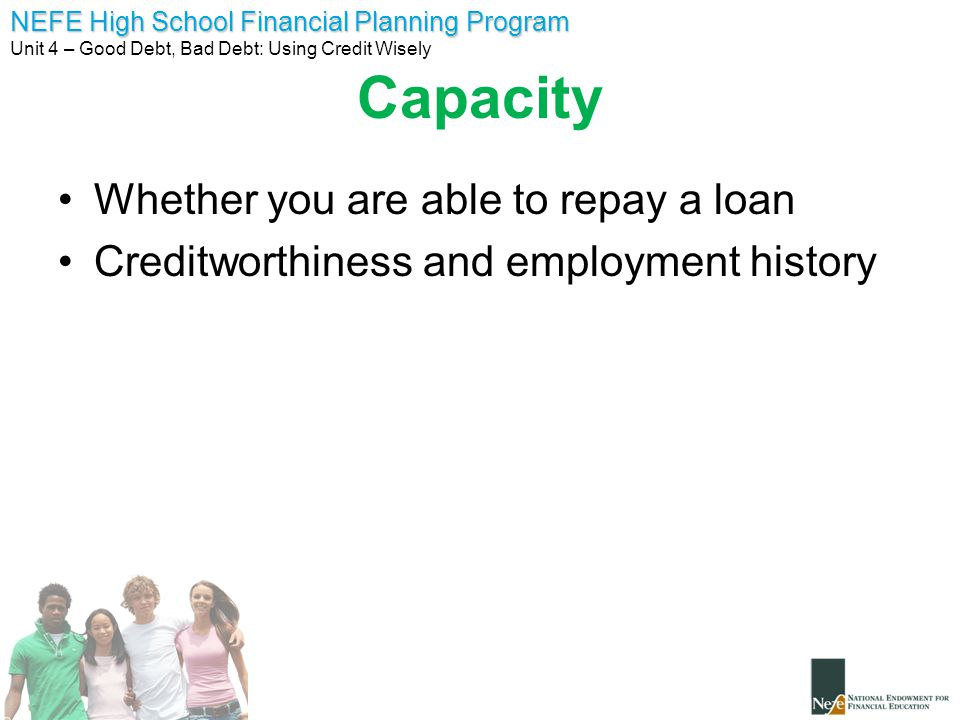 Capacity Whether you are able to repay a loan