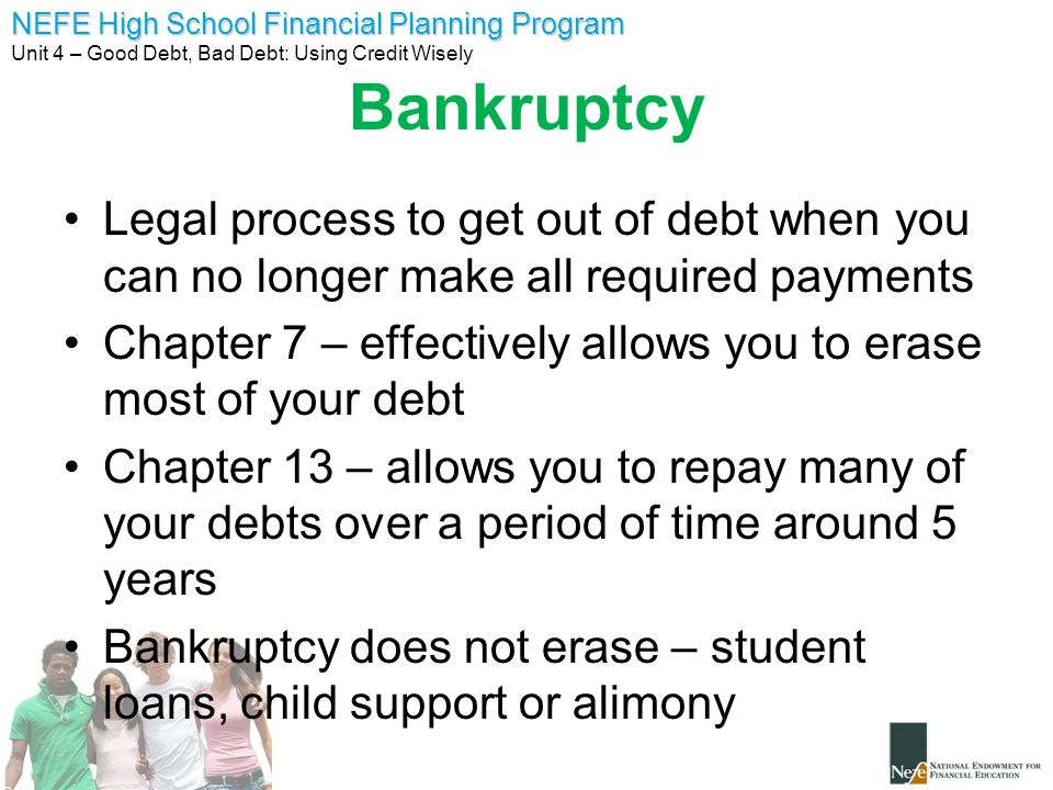 Bankruptcy Legal process to get out of debt when you can no longer make all required payments.