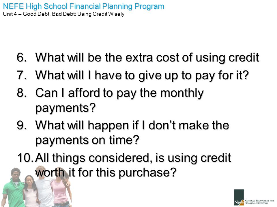 What will be the extra cost of using credit