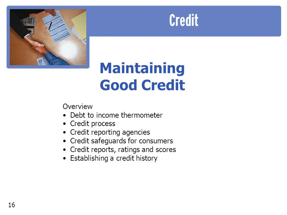 Maintaining Good Credit