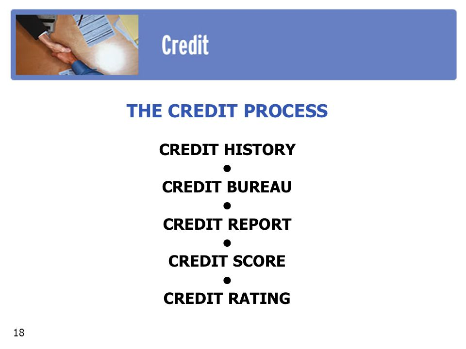 THE CREDIT PROCESS CREDIT HISTORY • CREDIT BUREAU CREDIT REPORT