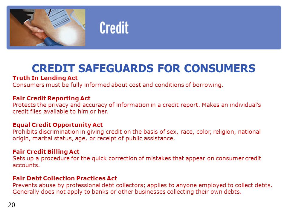 CREDIT SAFEGUARDS FOR CONSUMERS
